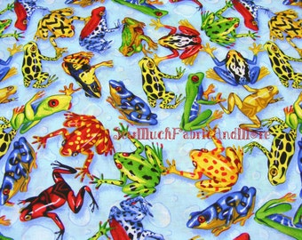 Colorful Leaping Frogs Fabric fabric~By The yard~cotton~Dart frog~Rainbow Frog~Tree Frog~More~Springs Creative~Toads