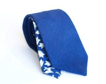 Dark blue linen tie, slim necktie