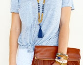 Chandler Necklace: Silk Thread Tassel Necklace with Wooden Beads