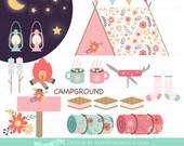 Happy Camper / Camping / Pink Flower Clip Art - Instant Download - CA054