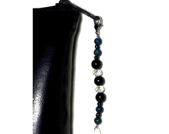 Black Bead Zipper Pull With Clear Tear Drop, Cut Glass Crystal Bead Swag, Purse Embellishment, Bible Case Bling, Clutch or Bag Adornment