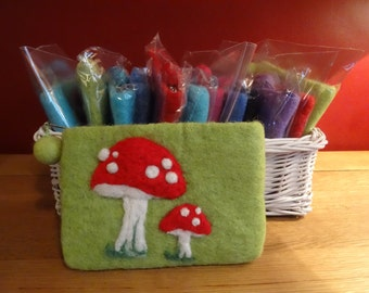 100% Wool ~ Purse ~ Needle Felted ~ Double Toadstool Design ~ Gift
