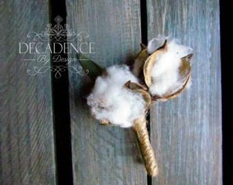 Cotton Boutonniere, Burlap Rose Boutonniere, Burlap Flower Boutonniere, Tiger Lily Boutonniere, Groom Accessory, Groomsman Accessory