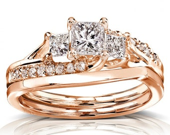 Princess Cut Diamond Bridal Set Ring 1 Carat (ctw) In 14k Gold