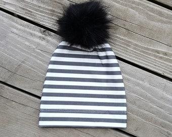 baby pom pom hat, faux fur pom pom hat, organic cotton baby hat, faux fur pom beanie, dark grey stripes