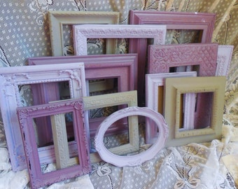 Lavender, Grape, and Gray Picture Frame Set, Nursery, Wedding, Purple, Orchid, Grey.  Shabby Chic Gallery Wall, 8X10, 5X7, 4X6
