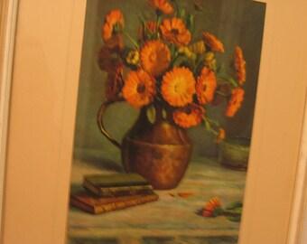 Vintage Framed Print Oil Painting Orange Mums Signed Madartus, Wooden Frame