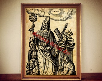Hermetic alchemy print, occult llustration, occult poster, Hermes Trismegistus, magic decor, astrology #282