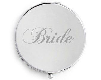 Compact Mirror Bride, Engraved, Personalized, Silver, Bride