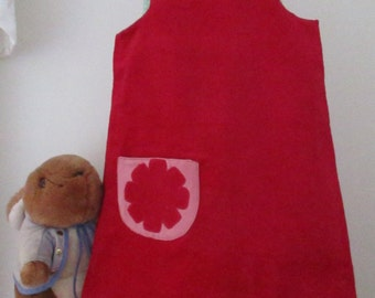 Lily Bobtail style Reversible Dress, girls pinafore, shift dress, Peter Rabbit 2 in 1, baby needle cord, soft poplin, ladybird motif,