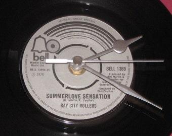 "Bay City Rollers summerlove sensation 7"" vinyl record clock"
