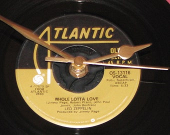 "Led Zeppelin whole lotta love   7"" vinyl record clock"