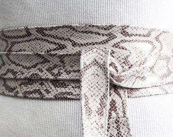 White Snakeskin Leather Obi Belt | Waist Sash Belt | Leather tie belt | Corset Leather Belt| Plus Size Belt