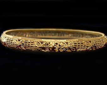 Unusual 20's Arts & Crafts style brass filigree flower flapper bangle, handsome abstract industrial lattice work woodland stackable bracelet
