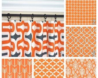 SPRING SALE Orange Curtains.Window Curtains.Kitchen Curtains.Apache Orange Window Treatment.Moroccan Curtains.Optional Blackout Curtains