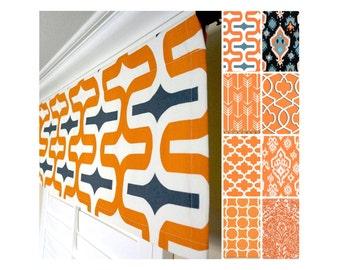 Orange Valance Curtain.Orange Black Curtain Valance.Grey Valance.Orange Kitchen Valance.Window Valance.Morrocan Curtain Valance
