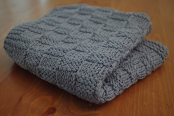 Knitted Cotton Dish Towel Pattern : Dusty Blue Handmade Kitchen Towel Knitted Dish Cloth Blue
