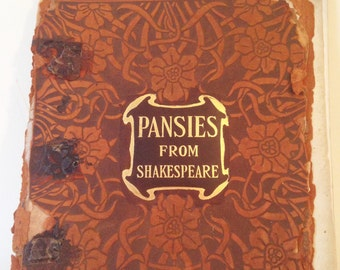 "Antique Book: ""Pansies From Shakespeare""  1898 Leather Cover"