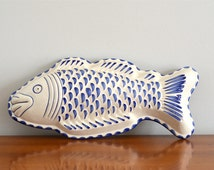 Vintage Ceramic Fish Shaped Mold Wall Hanging Coastal Nautical Blue White French Country Decor