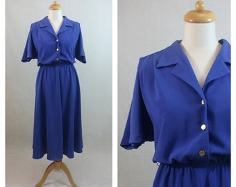 80s vintage dress. 80s does 50s Blue dress. Shirtwaist dress. 50s style dress. Flared dress. Midi dress. Short sleeve dress. Size L.