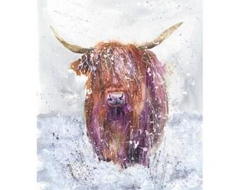 A4 Giclee print Winter Highland Cow  watercolour art print by nicola jane rowles