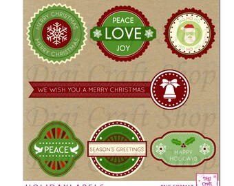 Digital Christmas Label Clipart. Holiday Label Images. Great for Holiday & Christmas cards and Invitations.  Instant Download