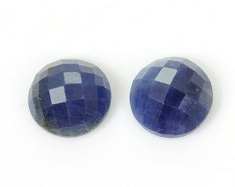 10.00Ct Madagascar Blue Sapphire 100% Natural Round Checker Cut Slice Pair 10*5h 82/28