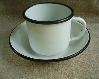 Vintage Soviet Enameled White Mug and Bowl.