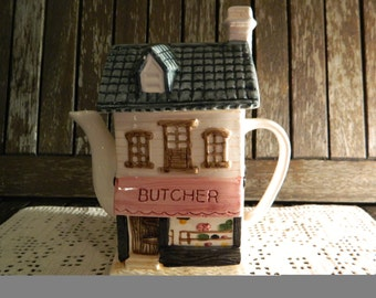 Novelty Handpainted Butcher Shop Front Teapot with Removable Lid
