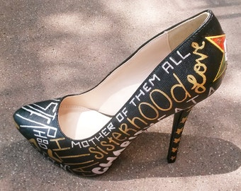 Order Of The Eastern Star Shoes / O.E.S. Heels / Hand Painted High Heels / Decoupage Shoes / Eastern Star Heels / Silver & Gold Heels
