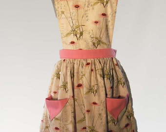 Women's Full Shabby Chic, Country Kitchen Baker's Apron with Flowers, Deep Pockets, and Waist Ties