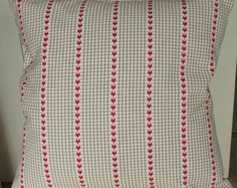 Scandanavian Style red Heart and check cushion cover