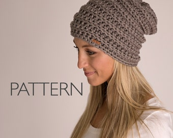 HOKC Ribbed Beanie PATTERN, winter hat pattern, hat pattern, slouchy hat, crochet pattern
