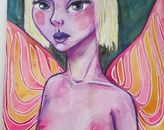 Pink Fairy. Original one of a kind mixed media portrait on paper.