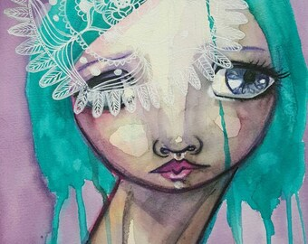Mandala girl. Original one of a kind mixed media painting on paper.