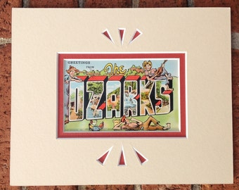 Ozark Vintage Postcard, Greetings from the Ozarks, Ozark Mountains, Large Letter, Matted for Wall Art in  8 x 10 frame