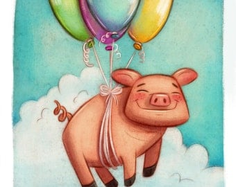 Flying Pig print • fine art print • Instagram 100 day project • illustration
