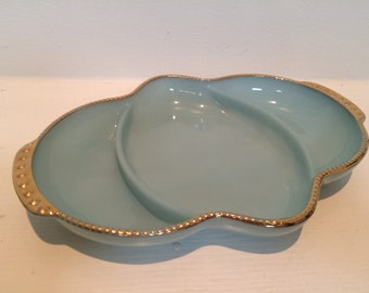Vintage Fire King Turquoise Blue Dish with Gold Edging - Blue Delphite