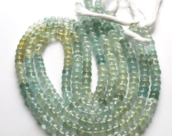 1 Stand 78 Carets 14 Inch,SUPERB, AAA Quality,Multi Moss Aquamarine Smooth Rondells  Beads  4.5 - 5 MM Size