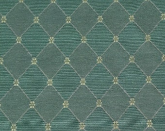 Classic Teal Diamond Pattern - Upholstery Fabric by the Yard