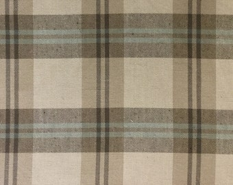 Aqua and Coco Brown Tartan Stripe - Upholstery Fabric by the Yard