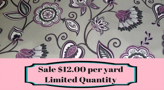 fabric sale grey and purple floral upholstery and home decor fabric by the yard from shopmyfabrics on etsy studio - Home Decor Fabrics By The Yard