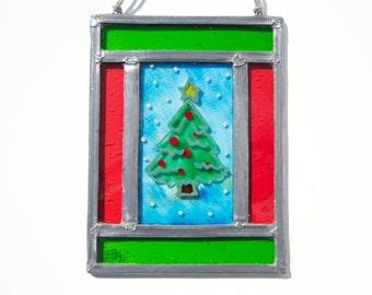 Christmas Stained Glass - Window panel - Suncatcher - Wall hanging - Christmas tree - Snow - Christmas decoration