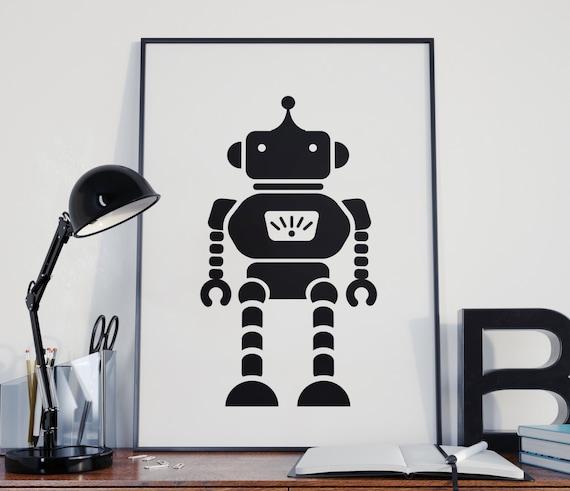 Robot boy nursery nursery decor boys room toy print toy for Robot room decor