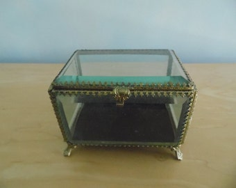 Stunning large and heavy thick glass filigree jewelry casket box