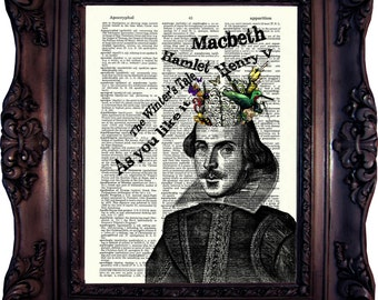 Book Art Print Shakespeare ART PRINT Book Art Literary Quotes Gift Ideas for Book Lover Book Quote Print Housewarming Gift Shakespeare C:716
