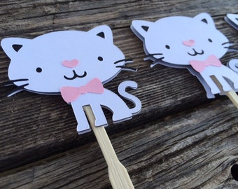 Kitten Cat Cupcake Toppers - Cat Party, Kitten Party, Birthday Party, Party Decorations