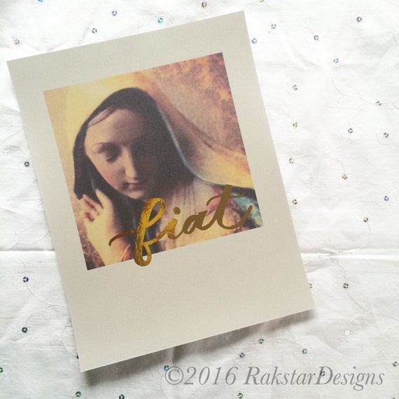Blessed Mother Fiat Gold Foil Handlettered Original Photography Inspirational Catholic 8x10 Print