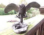 Owl Decor -Limited Edition Hudson Fine Pewter Owl Landing Statue - Wildlife Collection Sculpture #1685 of 3000
