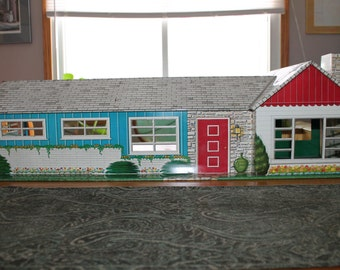 Vintage Tin Litho Dollhouse - Large Ranch Style Tin Metal Dollhouse with Marx Furniture and Accessories - Vintage Dollhouse 1950's